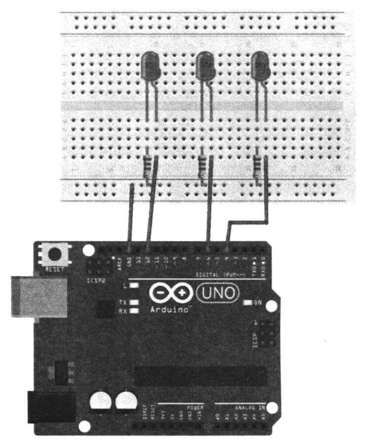 Схема подключения светодиодов к плате Arduino