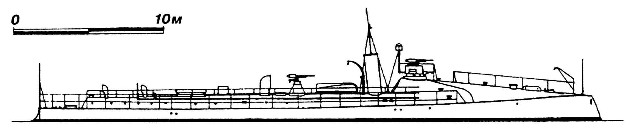 31.Миноносец «Ретамоса», Испания, 1886 г. Строился в Англии фирмой «Ярроу» по образцу русского «Сухума». Водоизмещение нормальное 70 т. Длина наибольшая 36,6 м, ширина 3,8 м, осадка 1,68 м. Мощность одновальной паросиловой установки 700 л.с., скорость на испытаниях 20,25 узла. Вооружение: два носовых 356-мм торпедных аппарата, две 25-мм пушки. Исключен из списков флота в 1900 г.