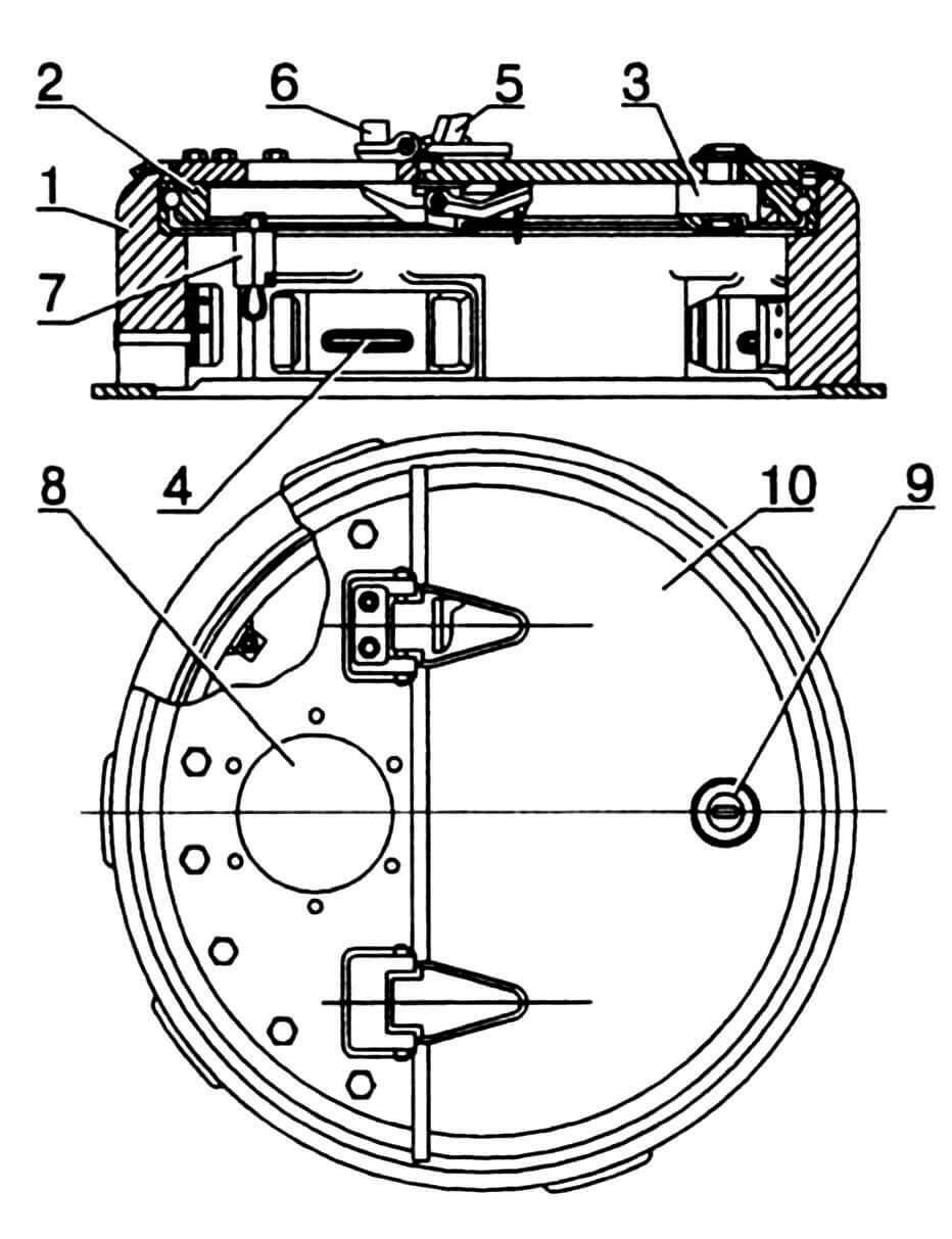 Командирская башенка: 1 — корпус башенки; 2 — погон подвижной; 3 — замок-защелка; 4 — щель смотровая; 5 — угольник; 6 — буфер резиновый; 7 — стопор; 8 — отверстие для установки прибора наблюдения MK-IV; 9 — отверстие для ключа; 10 — крышка люка.