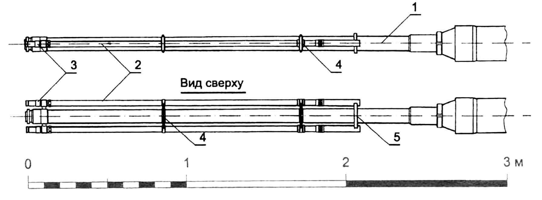 Ствол орудия: 1 — ствол; 2 — трубопроводы системы охлаждения; 3 — фитинги присоединительные; 4 — хомуты крепления трубопроводов; 5 — кронштейны крепления трубопроводов.