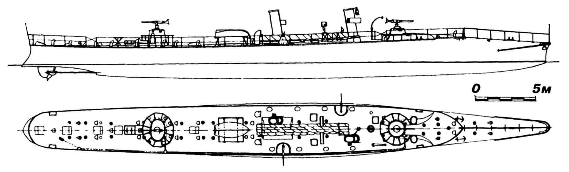 42.Миноносец «Ариете», Испания, 1887 г. Строился в Англии фирмой «Торникрофт». Водоизмещение нормальное 97 т. Длина наибольшая 44,96 м, ширина 4,34 м, осадка 1,49 м. Мощность двухвальной паросиловой установки 1600 л.с., скорость на испытаниях 26 узлов. Вооружение: два торпедных аппарата, две 42-мм и две 25-мм пушки. Всего построено две единицы: «Ариете» и «Райо». Оба погибли в 1905 г. во время пожара в порту.