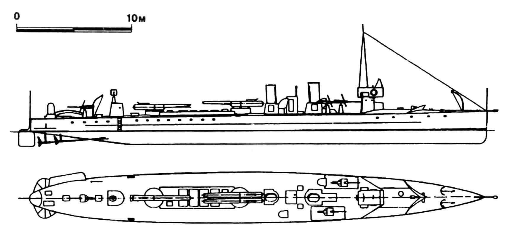 105. Миноносец № 1, Испания, 1910 г. Строился в Испании. Водоизмещение нормальное 177 т, полное 190 т. Длина наибольшая 50 м, ширина 5 м, осадка средняя 1,6 м. Мощность трехвальной паротурбинной установки 3750 л.с., скорость 26 узлов. Вооружение: три 450-мм торпедных аппарата, три 47-мм пушки. Всего в 1910—1919 гг. построено 22 единицы: № 1—22. Миноносцы, начиная с № 8, имели двухвальную паротурбинную установку. Служили до 1930—1940-х гг. Последний — № 17 — сдан на слом в 1952 г.