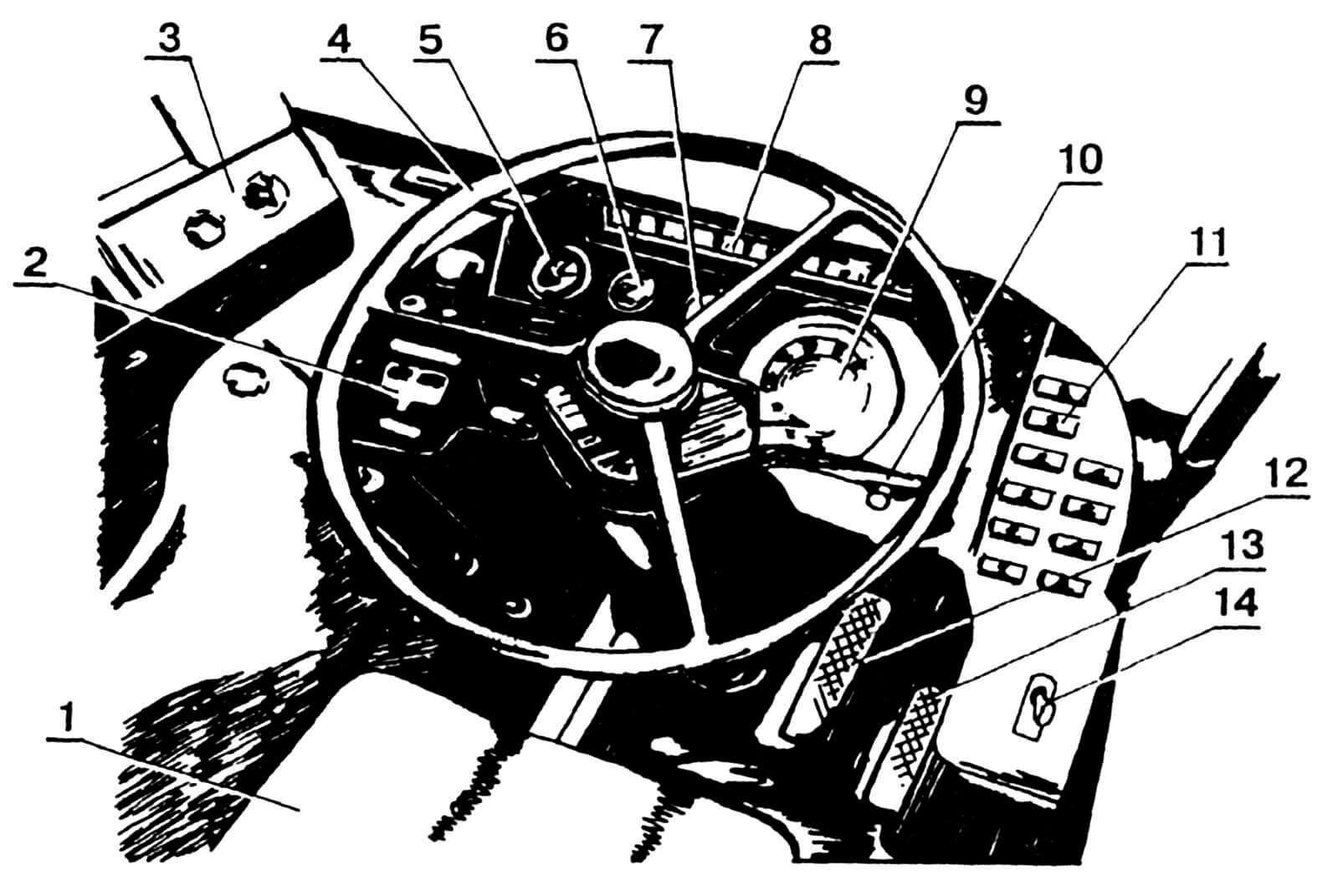 Панель приборов и органы управления: 1 — сиденье водителя; 2 — кнопки открывания дверей; 3 — аппарат кассовый; 4 — колесо рулевое; 5 — указатель уровня топлива; 6 — указатель давления масла; 7 — указатель состояния АКБ; 8 — блок контрольных ламп; 9 — спидометр; 10 — переключатель универсальный; 11 — выключатели освещения салонов; 12 — педаль тормоза; 13 — педаль «газа»; 14 — тормоз стояночный.