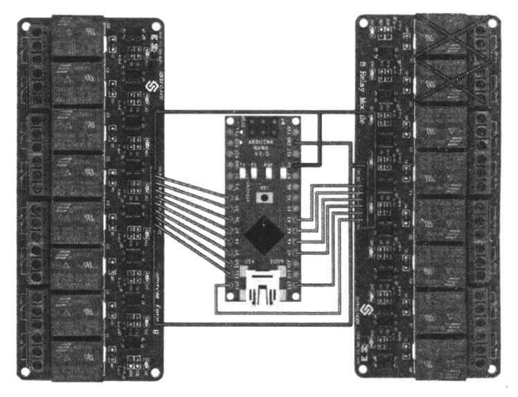 Схема подключения к плате Arduino 14-ти реле, управляющих помпами