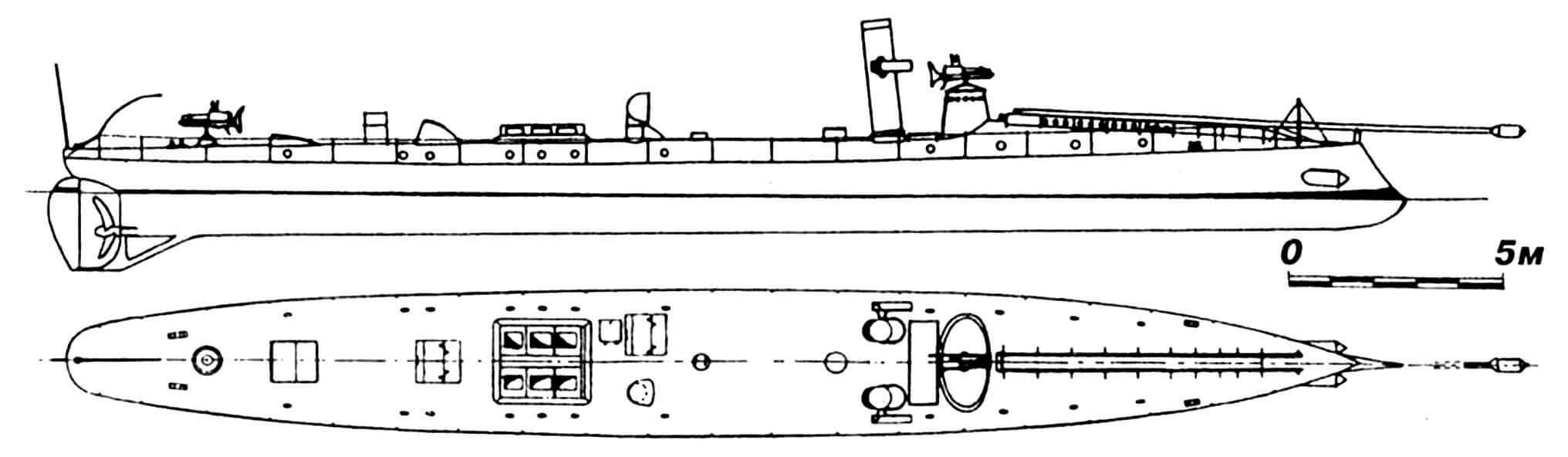 43.Миноносец «Бурханеддин», Турция, 1885 г. Строился во Франции фирмой «Форж э Шантье». Водоизмещение нормальное 38 т. Длина наибольшая 31,7 м, ширина 3,6 м, осадка 1,7 м. Мощность одновальной паросиловой установки 525 л.с., скорость 17 узлов. Вооружение: два торпедных аппарата, шестовая мина, 34-мм и 25-мм револьверные пушки Норденфельта. Всего построено шесть единиц: «Бурханеддин» и «Тевфик» в 1885 г. во Франции; «Меджидие», «Эзери-Теракки», «Нимет» и «Шанавер» в 1886—1893 гг. в Турции (верфь «Герсане-и-Амире» в Стамбуле). Все сданы на слом в 1909 г.