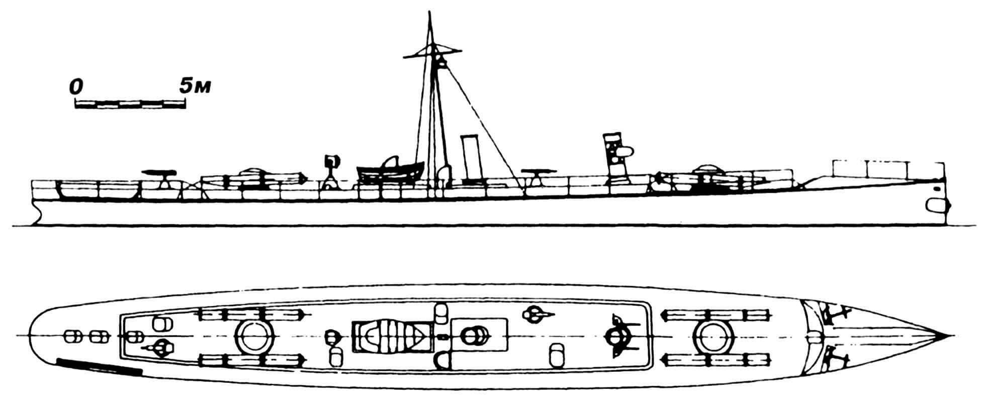 44.Миноносец «Балучи», Англия, 1888 г. Строился фирмой «Торникрофт». Водоизмещение нормальное 96 т. Длина наибольшая 41,08 м, ширина 4,51 м, осадка 2,15 м. Мощность одновальной паросиловой установки 1270 л.с., скорость на испытаниях 23,2 узла. Вооружение: пять торпедных аппаратов (носовой и 2x2 палубных), две 25-мм пушки Норденфельта. Всего построено три единицы: «Балучи», «Карен» и «Патан». Предназначались для службы в Индии, но остались в водах Метрополии. В 1892 г. переименованы в № 100, 102 и 103. Сданы на слом в 1909 г.