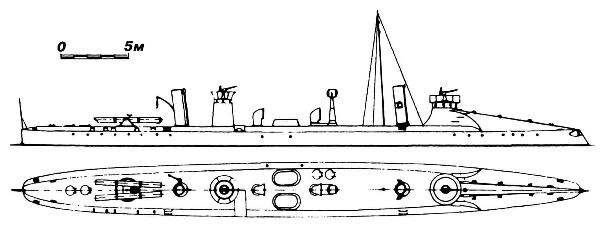 45.Миноносец 76YA, Италия, 1887 г. Строился в Англии фирмой «Ярроу». Водоизмещение нормальное 100 т, полное 110 т. Длина наибольшая 42,7 м, ширина 4,27 м, осадка 1,54 м. Мощность двухвальной паросиловой установки 1600 л.с., скорость на испытаниях 26 узлов. Вооружение: четыре торпедных аппарата (два носовых и два палубных), две 37-мм пушки. Всего построено четыре единицы: 76YA и 77YA — в Англии, 78YA и 79YA — в Италии (верфь в Венеции). Последние два вошли в строй только в 1895—1896 гг., имели три торпедных аппарата и развили на испытаниях скорость 22 узла. Все сданы на слом в 1907— 1910 гг.