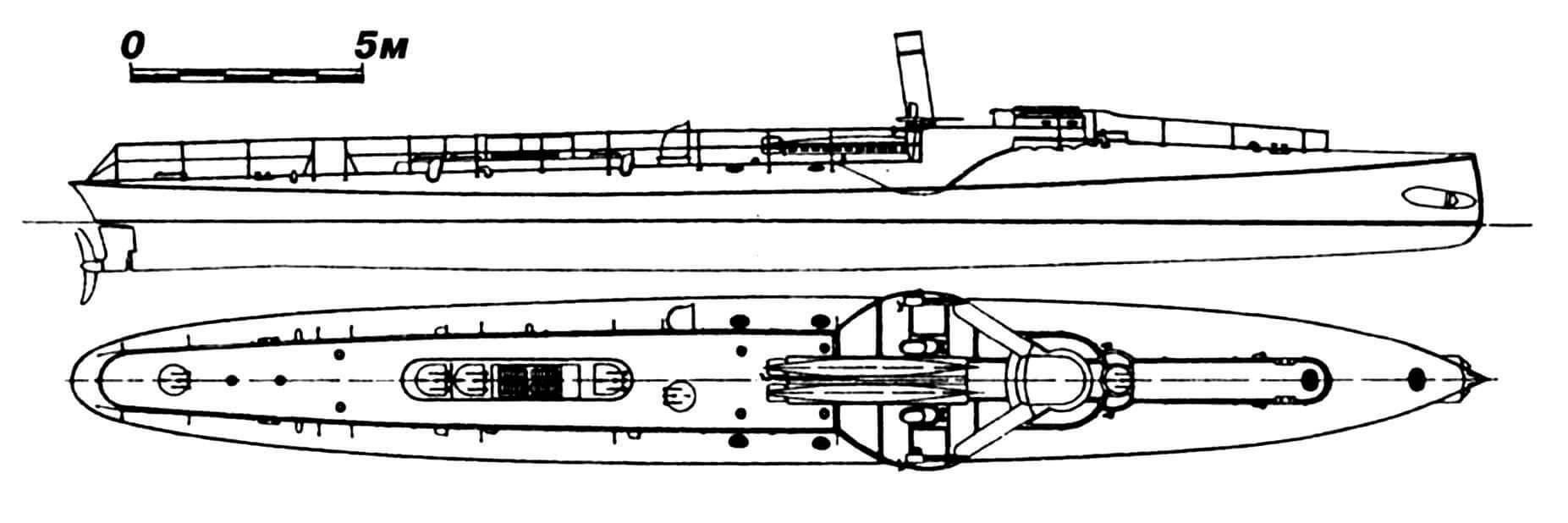46.Миноносец «Фатум», Италия, 1888 г. Строился фирмой «Орландо» (г. Ливорно). Водоизмещение нормальное 42 т. Длина наибольшая 30,83 м, ширина 3,5 м, осадка 2,32 м. Одновальная паросиловая установка, скорость 19 узлов. Вооружение (по проекту): два торпедных аппарата, две двуствольные 25-мм пушки. В состав флота включен не был и использовался в качестве опытного корабля.