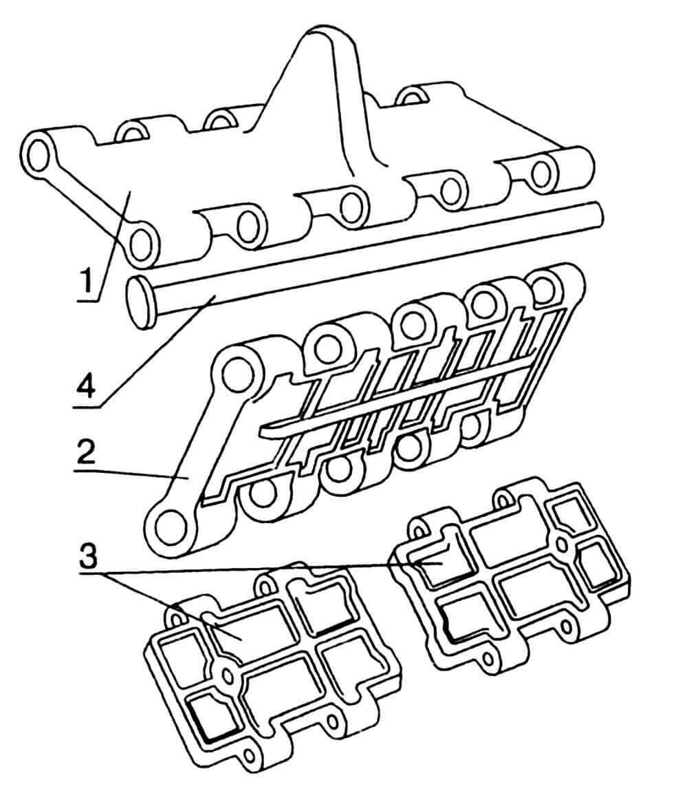 Траки гусеничной цепи: 1 — трак с гребнем; 2 — трак без гребня; 3 — трак разъемный; 4 — палец.