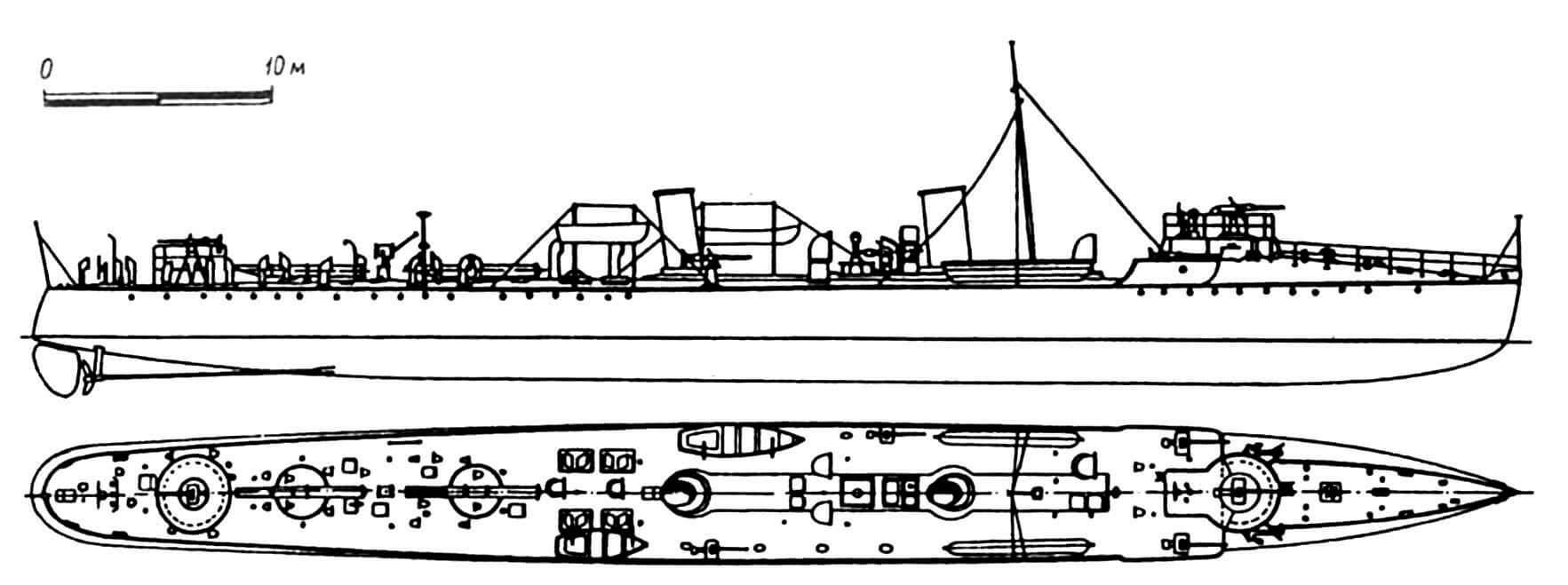 117. Эскадренный миноносец «30-узловой» серии «Десперейт», Англия, 1897 г. Строился фирмой «Торникрофт». Водоизмещение нормальное 310 т, полное 350 т. Длина наибольшая 64,01 м, ширина 5,94 м, осадка 2,13 м. Мощность двухвальной паросиловой установки 5700 л.с., скорость на испытаниях 30,6 узла. Вооружение: два палубных торпедных аппарата, одна 76-мм и пять 57-мм пушек. Всего построено четыре единицы: «Десперейт», «Фэйм», «Фоам» и «Мэллард», вошедшие в строй в 1897 г. Обладали хорошей маневренностью. «Фоам» сдан на слом в 1914г., остальные — после Первой мировой войны.