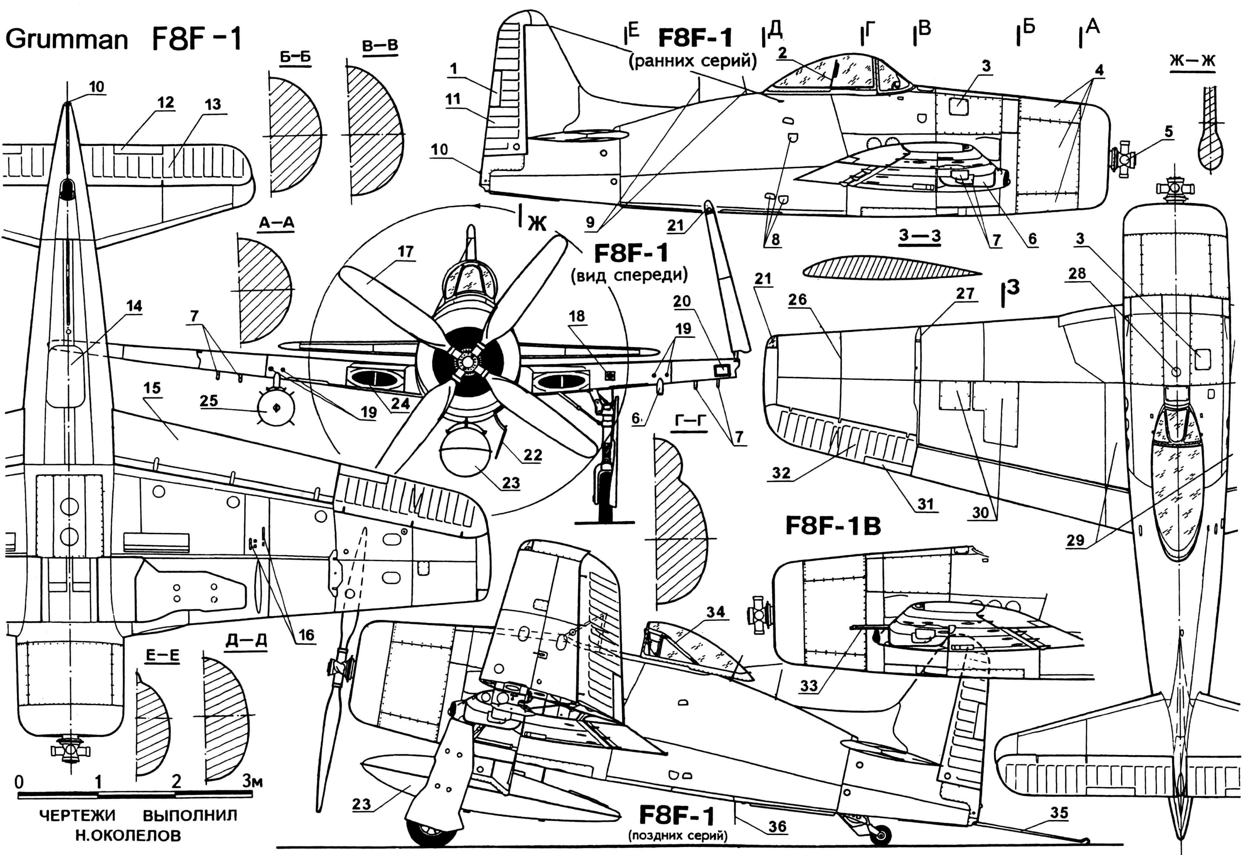 Истребитель F8F «Биркэт»: 1 — триммер руля поворота; 2 — бронеспинка кресла пилота; 3 — лючок заправки маслобака; 4 — капоты двигателя, съемные; 5 — втулка винта; 6 — пилон подкрыльевой, основной; 7 — пилоны подкрыльевые; 8 — подножки с пружинными крышками; 9 — антенны станции AN/ARC-1; 10 — огонь габаритный; 11 —руль поворота; 12 — триммер руля высоты; 13 — руль высоты; 14 — люк радиокомпаса, эксплуатационный; 15 — закрылок; 16 — гильзовыбрасыватели; 17 — винт изменяемого шага, четырехлопастный; 18 — фотопулемет; 19 — пулеметы М2; 20 — фара посадочная; 21 — огонь крыльевой, навигационный; 22 — створка ниши колеса основной стойки шасси; 23 — бак подвесной топливный на 568 л; 24 — воздухозаборник воздушного нагнетателя; 25 — бомба калибра 454 кг; 26 — граница отстрела законцовки; 27 — линия складывания крыла; 28 — лючок заливной горловины фюзеляжного топливного бака; 29 — панели обшивки крыла, усиленные; 30 — лючки пулеметного отсека; 31 — триммер элерона; 32 — элерон; 33 — пушки М3; 34 — рама противокапотажная; 35 — крюк тормозной; 36 — антенна станции AN/APX-1.