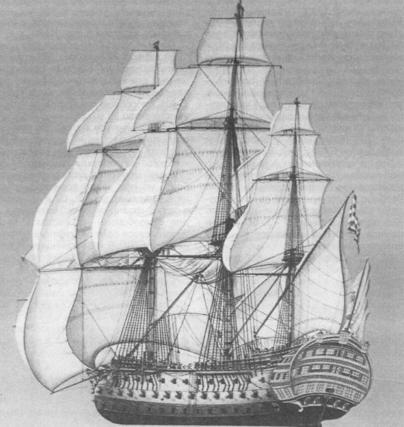 «Классическое» изображение корабля «Сантисима Тринидад» в варианте трехдечного линкора с косым латинским парусом и бизань-рю