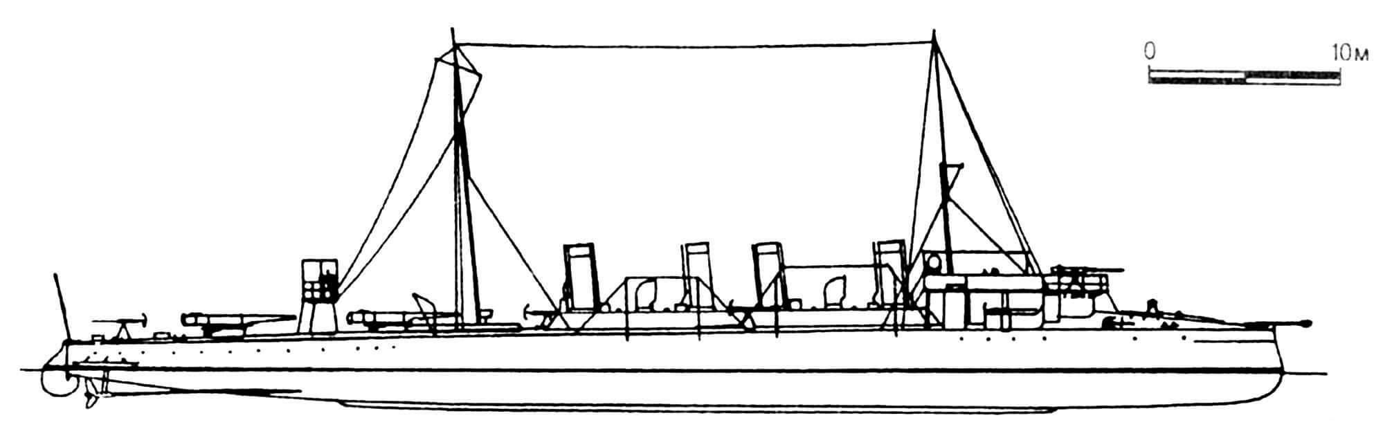 133. Эскадренный миноносец «Лейтенант Пущин», Россия, 1907 г. Водоизмещение нормальное 350 т. Длина наибольшая 64 м, ширина 6,4 м, осадка 2 м. Мощность двухвальной паромашинной установки 5700 л.с., скорость 26 узлов. Вооружение: одна 75-мм и пять 47-мм пушек, два торпедных аппарата. Всего построено девять единиц.