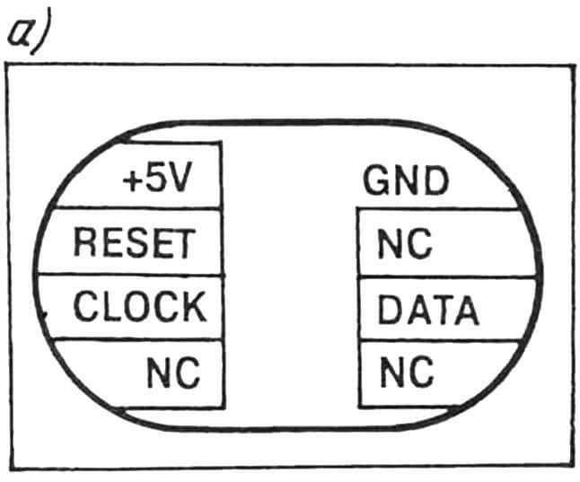 Расположение выводов (а) телефонной карточки и схема переходника (б) для подключения ее к параллельному порту компьютера.