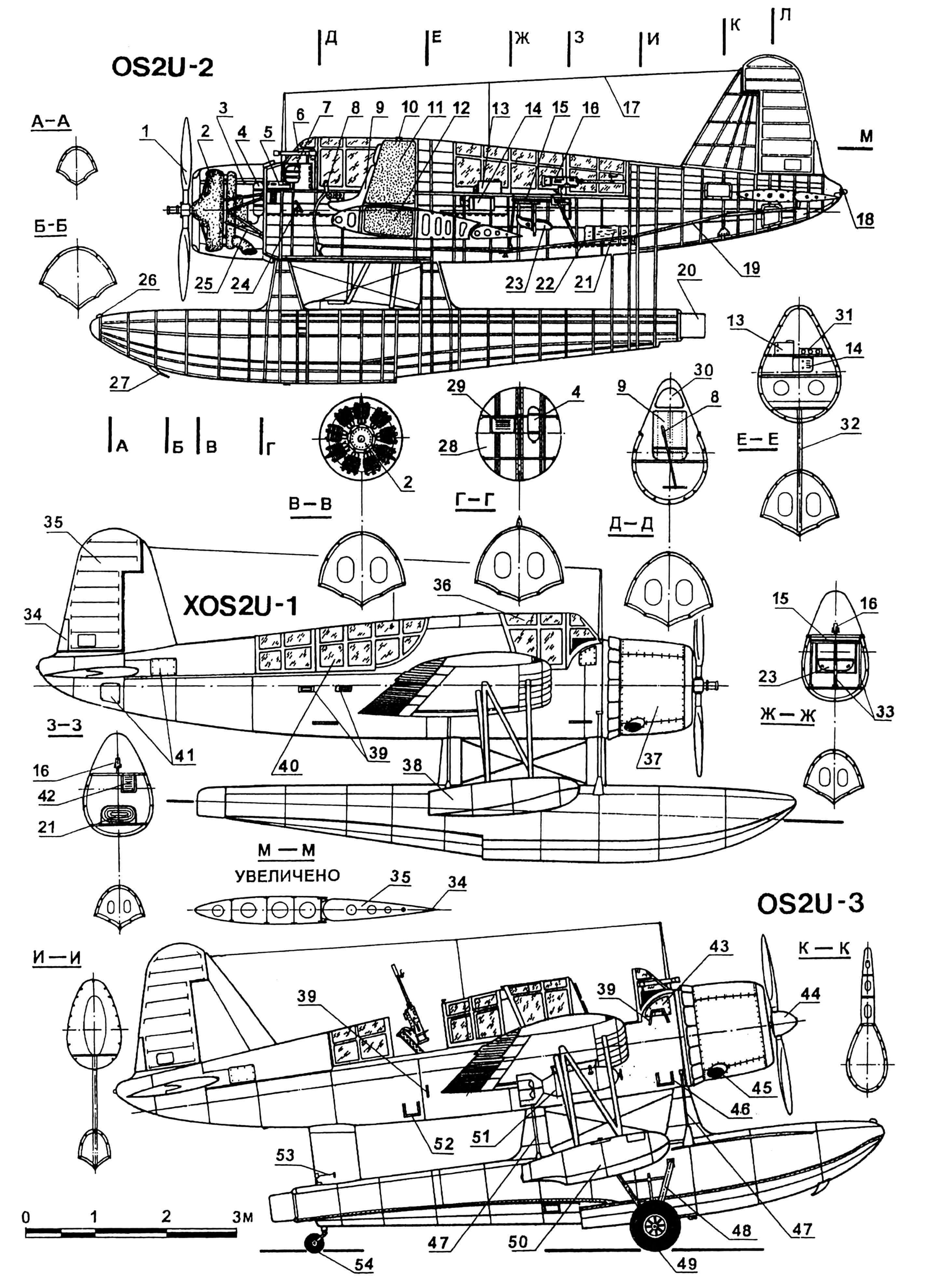 Гидросамолет OS2U «Кингфишер»: 1 — винт двухлопастный; 2 — двигатель R985-50; 3 — кожух ствола пулемета; 4 — баллон воздушный; 5 — пулемет «Кольт-Браунинг»; 6 — прицел Мк III-2 комбинированный; 7 — маслобак; 8 — ручка управления самолетом; 9 — кресло пилотское; 10 — горловина фюзеляжного топливного бака, заливная; 11 — бак топливный; 12,77 — баки топливные крыльевые; 13 — приемник радиостанции; 14 — передатчик радиостанции; 15 — установка турельная; 16 — пулемет; 17 — антенна радиостанции; 18 — огонь габаритный; 19 — тяга управления рулем высоты; 20 — руль водяной; 21 — лодка надувная; 22 — пол кабины летчика-наблюдателя; 23 — сиденье летчика-наблюдателя; 24 — педали управления рулем поворота; 25 — моторама; 26 — узел швартовочный; 27 — гак катапультный; 28 — перегородка противопожарная; 29 — батарея аккумуляторная; 30 — заголовник сиденья летчика; 31 — доска приборная летчика-наблюдателя; 32 — стойка центрального поплавка; 33 — стойки крепления турели; 34 — триммер руля поворота; 35 — руль поворота; 36 — часть фонаря кабины пилота, сдвижная; 37 — капот двигателя; 38 — поплавок крыльевой (первых серий); 39 — поручни; 40 — фонарь кабины летчика-наблюдателя, сдвижной; 41 — лючки для доступа к системе управления, эксплуатационные; 42 — ящик патронный к пулемету; 43 — лючок доступа к пулемету; 44 — кок винта; 45 — патрубок выхлопной; 46 — подножка пилотской кабины; 47 — растяжки основного поплавка; 48 — стойка шасси; 49 — колесо основного шасси; 50 — поплавок крыльевой (поздних серий); 51 — бомба М-43; 52 — подножка кабины стрелка; 53 — тяга управления водяным рулем; 54 — колесо хвостовое; 55 — лампа освещения правого борта пилотской кабины; 56 — ручка выпуска закрылков; 57 — маховик триммера руля поворота; 58 — маховик триммера руля высоты; 59 — рычаг управления двигателем; 60 — бомбосбрасыватель; 61 — рукоятка регулировки кресла летчика; 62 — рычаг управления шагом винта; 63 — часы; 64 — топливомер; 65 — указатель скорости; 66 — указатель курса; 67 — индикатор положен