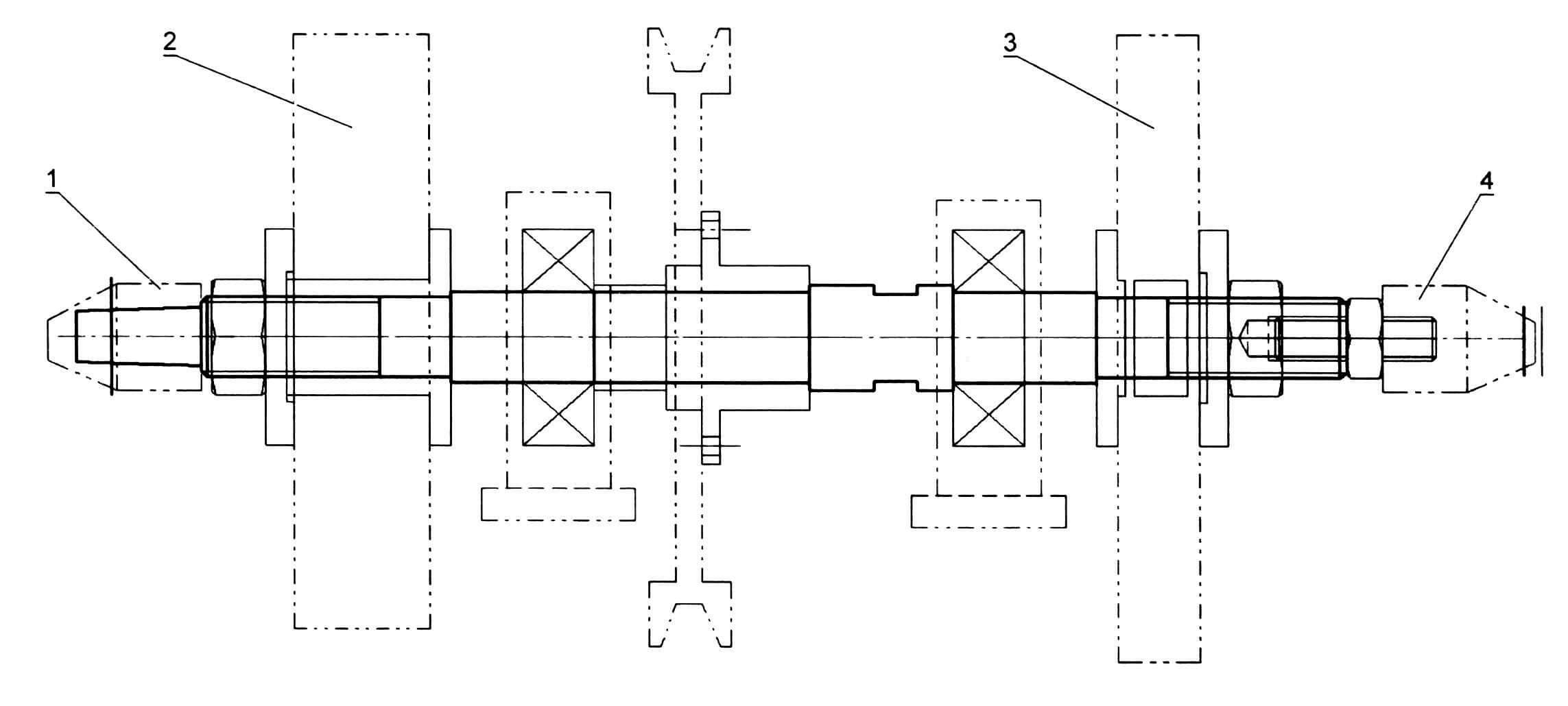 Вал с рабочими инструментами: 1 - левый патрон под полировальный на резиновом основании; 2 - войлочный диск; 3 - фанерный диск с наждачной бумагой; 4 - правый патрон под лепестковый диск