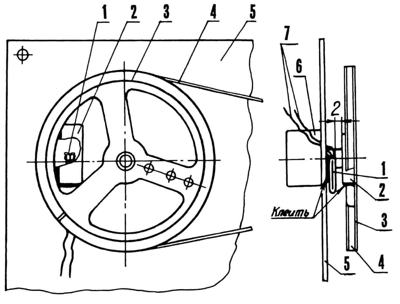 Датчик с герконовой коммутацией: 1 — геркон; 2 — магнит; 3 — шкив верньера; 4 — тросик; 5 — шасси ; 6 — конденсатор типа КПЕ; 7 — выводы геркона.