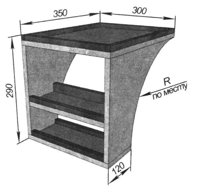 Габаритный чертеж столика