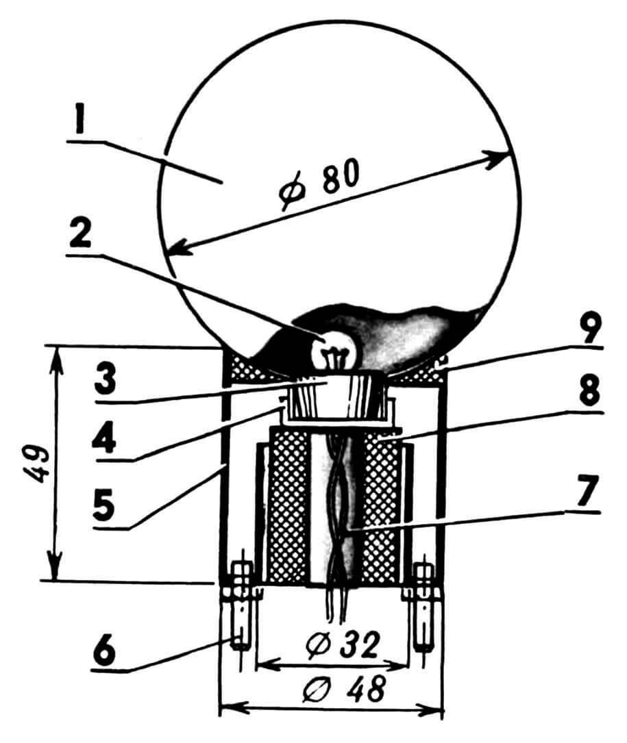 Миниатюрный светильник: 1 — плафон (елочный шар); 2 — лампочка; 3 — микропатрон; 4 — колпачок елочного шара; 5 — корпус; 6 — винт крепежный; 7 — провода к лампочке; 8 — втулка резиновая; 9 — заливка эпоксидной смолой.