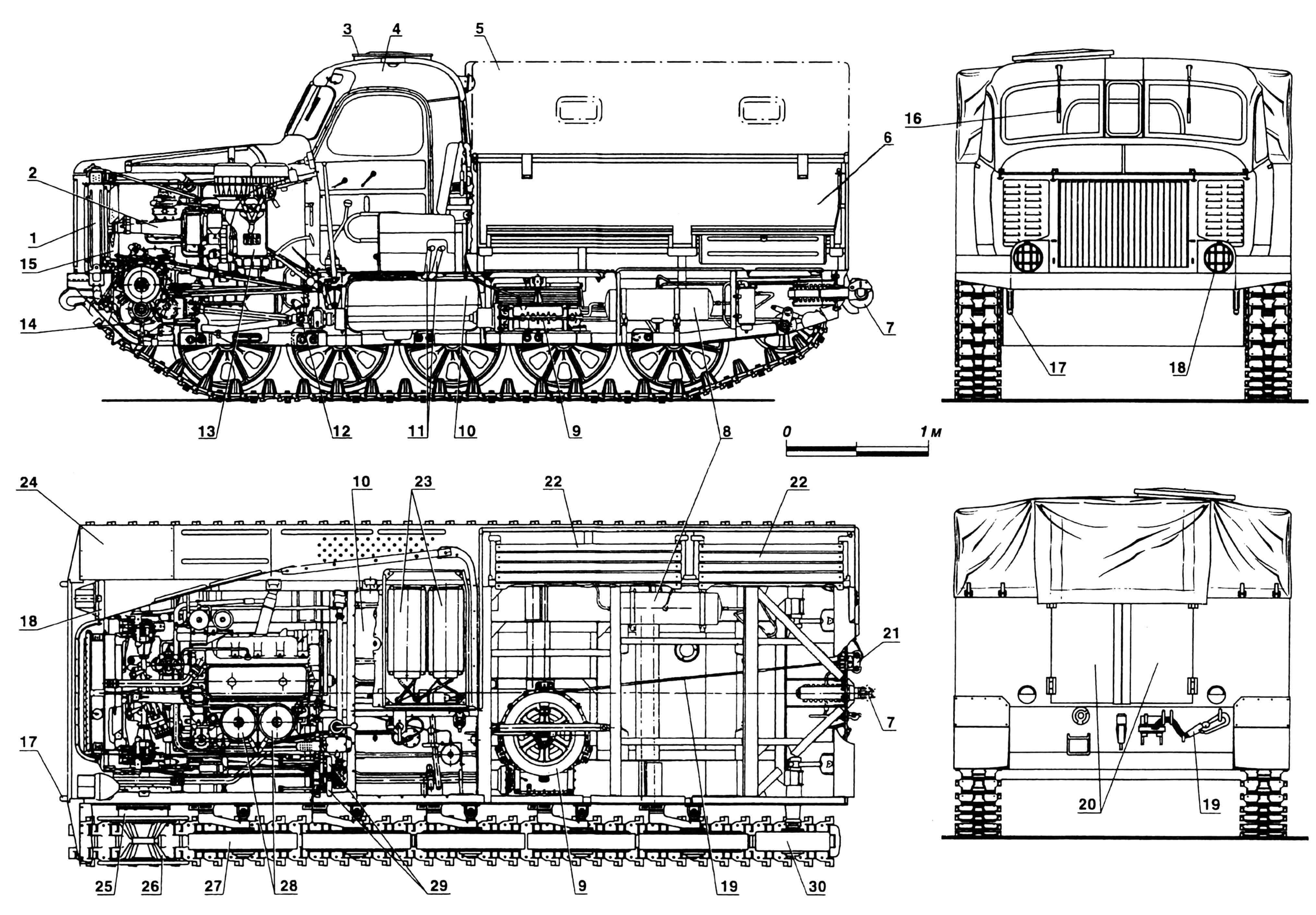 Легкий артиллерийский тягач АТ-Л(А): 1 — радиатор; 2 — рессора привода вентилятора; 3 — люк командира; 4 — кабина; 5 — тент; 6 — кузов; 7 — прибор тягово-сцепной; 8 — рессивер воздушной системы; 9 — лебедка; 10 — баки топливные; 11 — горловины заливные; 12 — вал карданный привода лебедки; 13 — двигатель; 14 — передача главная; 15 — вентилятор; 16 — стеклоочиститель; 17 — крюки буксировочные; 18 — фары; 19 — трос; 20 — двери кузова; 21 — ролики троса лебедки, выводные; 22 — сиденья откидные; 23 — аккумуляторы; 24 — подкрылок; 25 — передача бортовая; 26 — колесо ведущее; 27 — каток опорный; 28 — фильтры воздушные; 29 — рычаги управления; 30 — колесо направляющее.