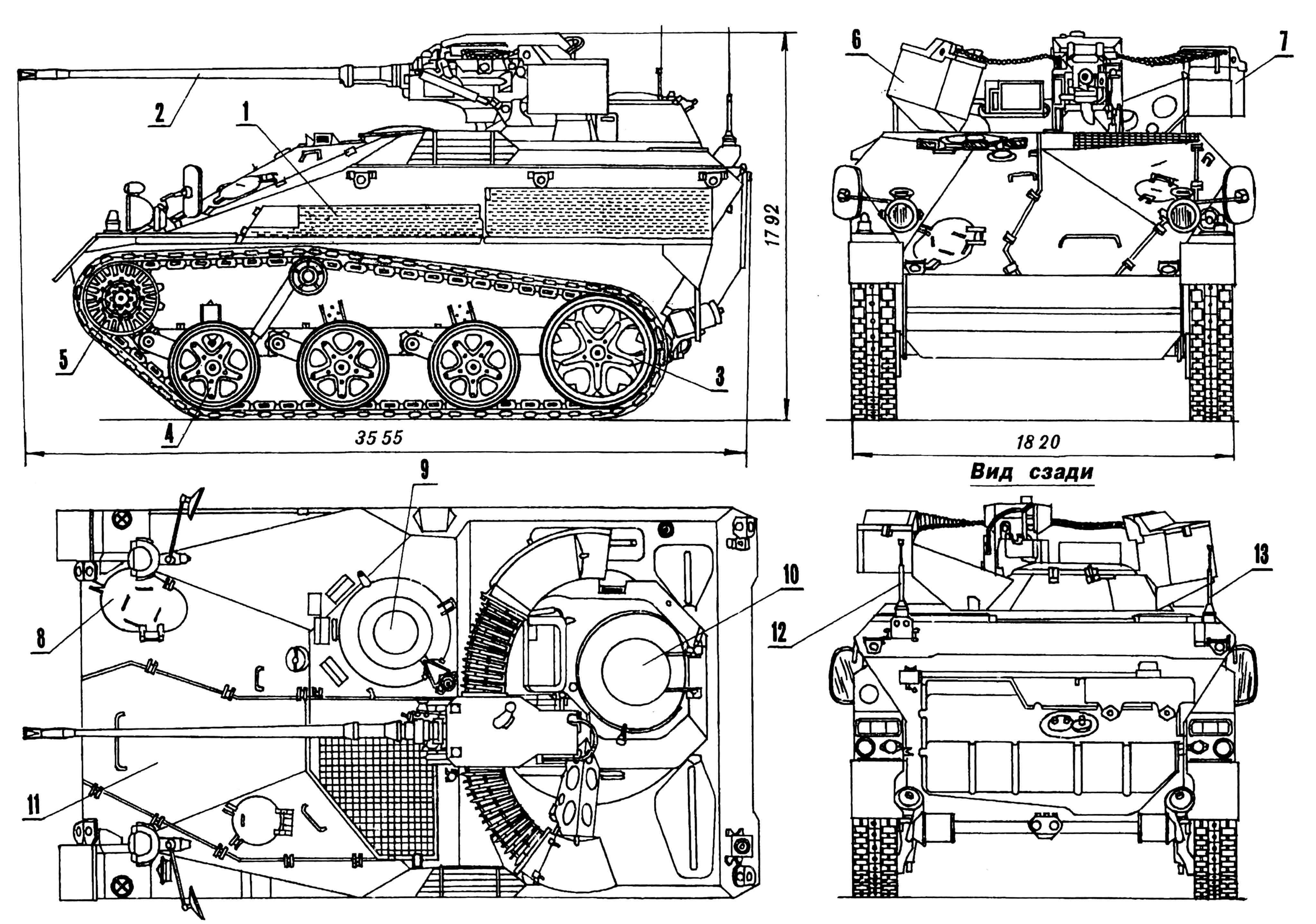 Боевая десантная машина Wiesel Мк20 А1: 1 — сетка выхлопной трубы, защитная; 2 — 20-мм пушка; 3 — ленивец; 4 — каток опорный; 5 — колесо ведущее; 6,7 — коробки патронные бронированные; 8 — люк доступа к трансмиссии; 9 — люк механика-водителя; 10 — люк стрелка; 11 — люк доступа к двигателю; 12,13 — антенны.