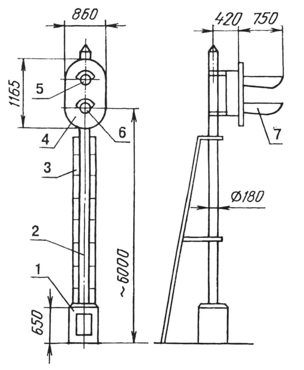 Светофор, взятый за образец при моделировании: 1 — тумба-основание; 2 — мачта; 3 — лестница; 4 — головка сигнальная; 5 — фонарь сигнальный, зеленый; 6 — фонарь сигнальный, красный; 7 — козырек светозащитный (2 шт.).