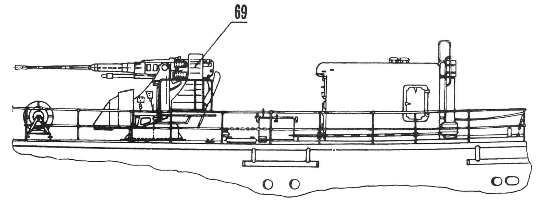 Расположение артустановки СМ-21-ЗиФ на серийном катере пр. 201