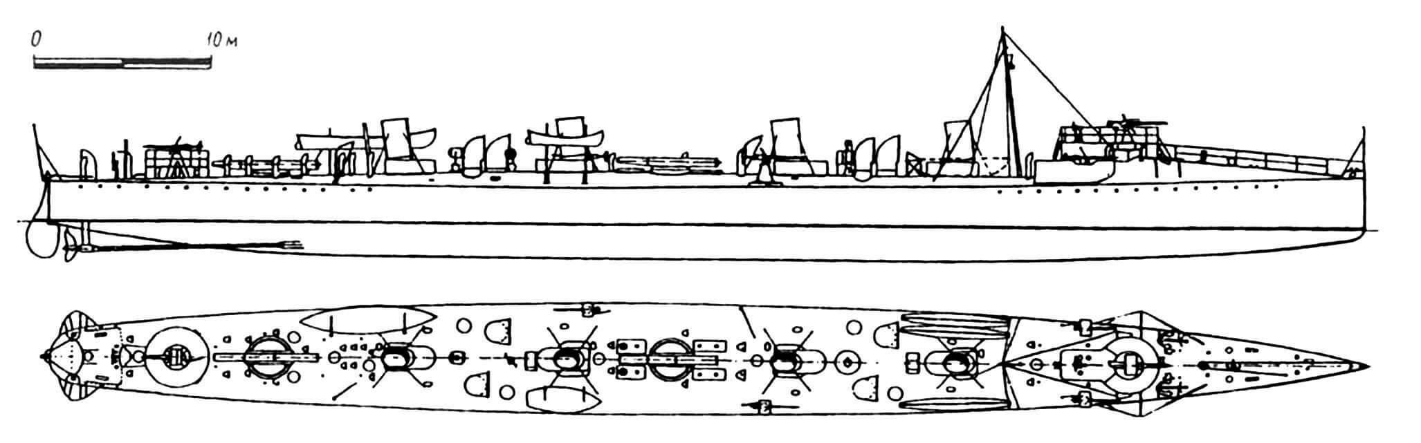 118. Эскадренный миноносец «33-узловой» серии «Экспресс», Англия, 1902 г. Строился фирмой «Лэйрд». Водоизмещение нормальное 465 т, полное 540 т. Длина наибольшая 72,92 м, ширина 7,16 м, осадка 3,12 м. Мощность двухвальной паросиловой установки 9250 л.с., скорость на испытаниях 31,2 узла. Вооружение: два палубных торпедных аппарата, одна 76-мм и пять 57-мм пушек. Построена одна единица. Эсминец получил серьезные повреждения в ходе испытаний в 1898 г., что на четыре года отсрочило его вступление в строй. Для достижения проектной скорости многократно заменялись гребные винты. Сдан на слом в 1921 г.