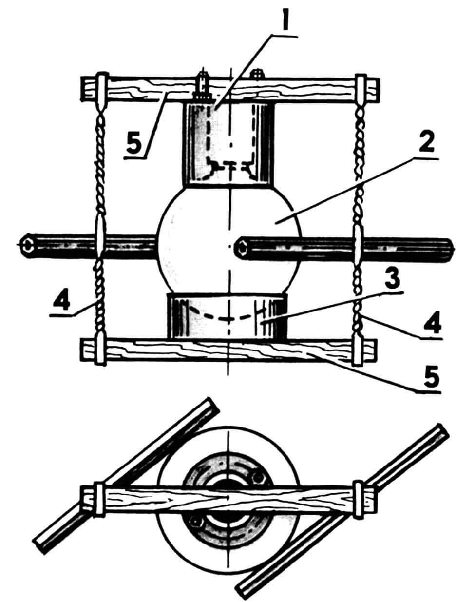 Приспособление для склейки плафона с корпусом: 1 — корпус; 2 — плафон; 3 — подставка кольцевая; 4 — стяжки веревочные; 5 — планки прижимные.