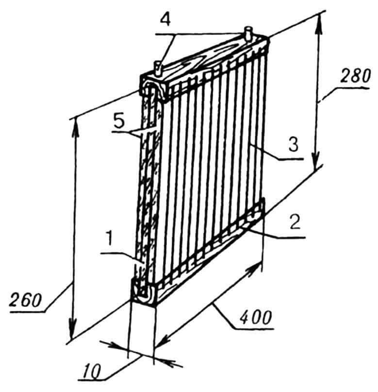 Конструкция рамки-ядосборщика: 1 — пластина-основа (оконное стекло, s3); 2 — планка деревянная; 3 — намотка нихромовая; 4 — клеммы; 5 — вставки-кристаллизаторы пчелиного яда (оконное стекло, s3).