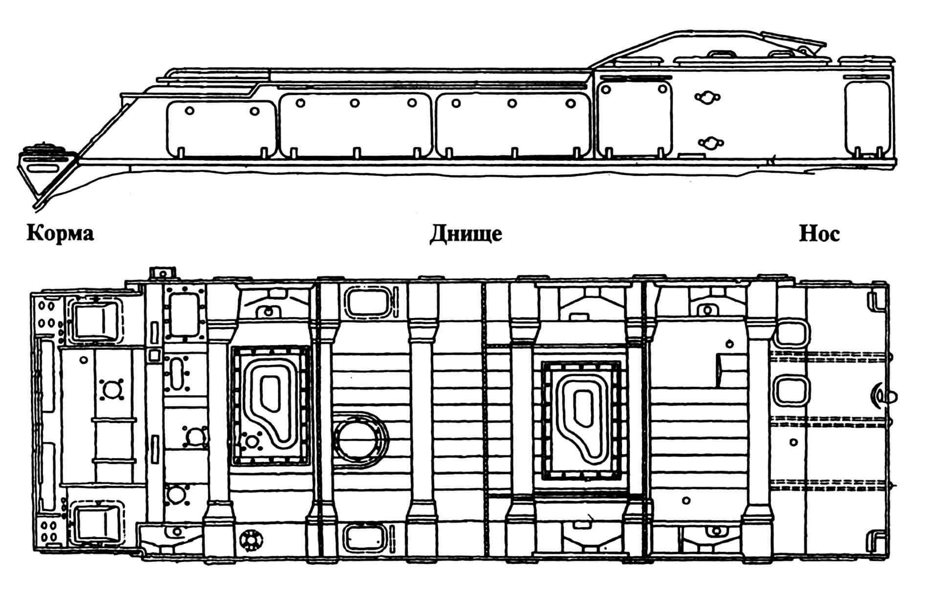 Вид на левый борт (ходовая часть и пусковая установка условно не показаны).