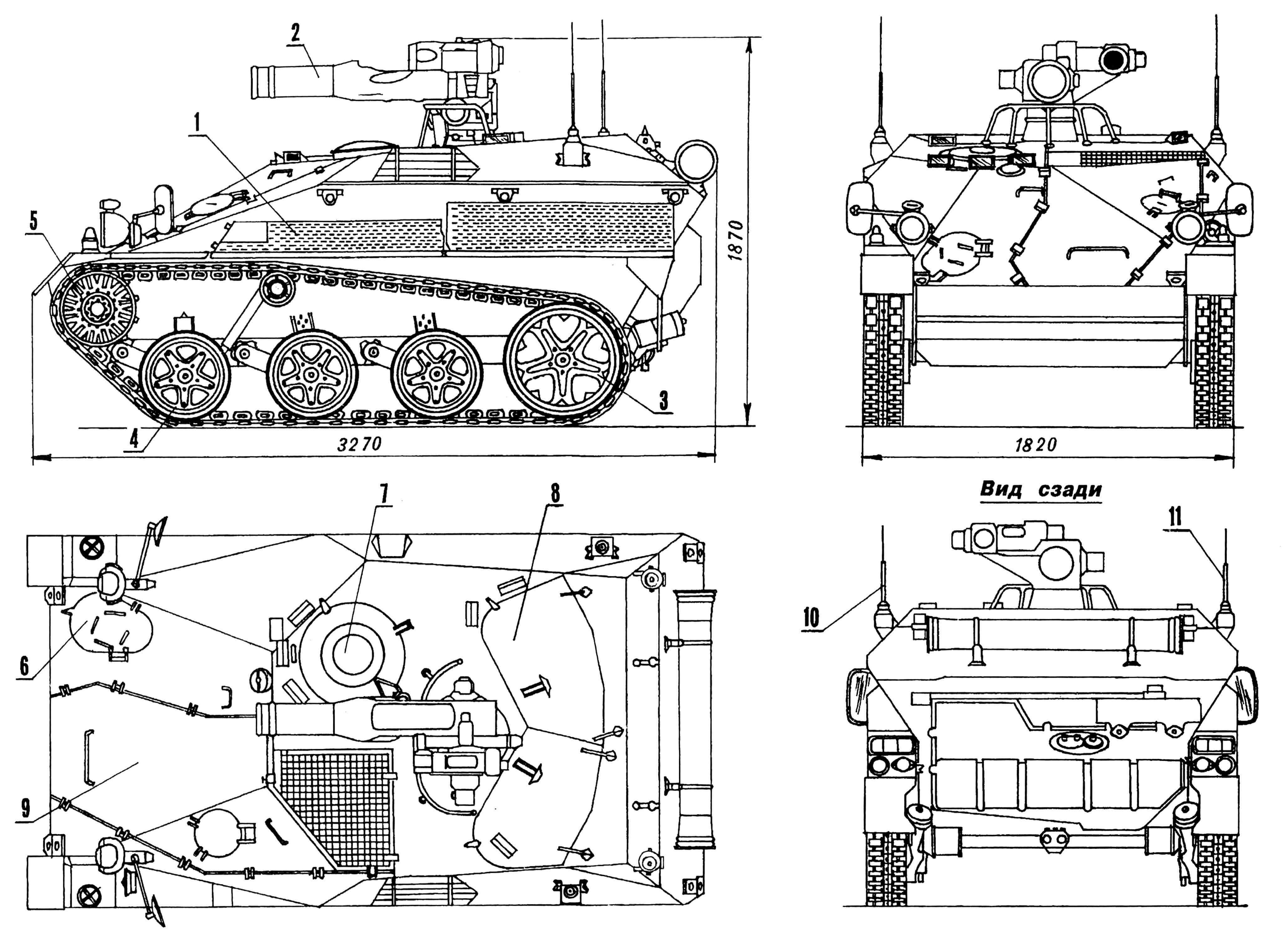 Боевая десантная машина Wiesel TOW A1: 1 — сетка выхлопной трубы, защитная; 2 — ПТРК TOW; 3 — ленивец; 4 — каток опорный; 5 — колесо ведущее; 6 — люк доступа к трансмиссии; 7 — люк механика-водителя; 8 — двухстворчатый люк расчета ПТРК; 9 — люк доступа к двигателю; 10,11 — антенны.