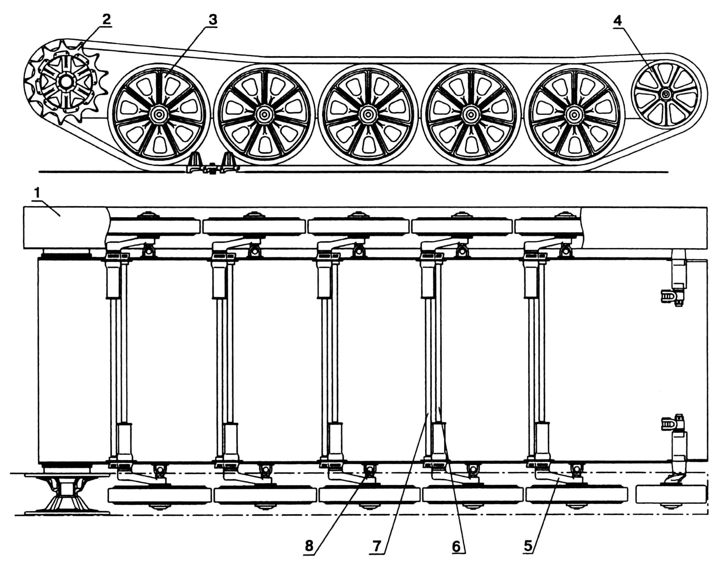 Ходовая часть: 1 — цепь гусеничная; 2 — колесо ведущее; 3 — каток опорный; 4— колесо направляющее; 5 — рычаг катка; 6 — вал торсионный, левый; 7 — вал торсионный, правый; 8 — упор рычага катка.