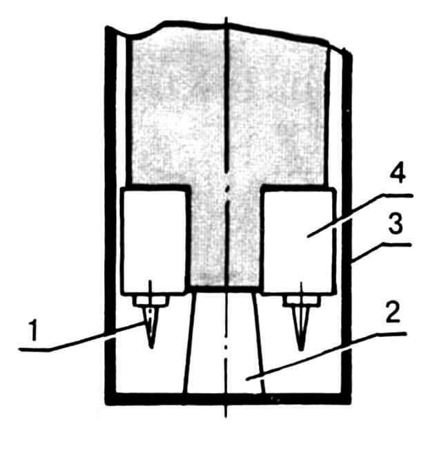 Рис. 4. Прибор индивидуальной защиты в ждущем режиме: 1—электрод; 2 — упор-предохранитель; 3 — чехол-изолятор; 4 — электрод полосковый (2 шт.).