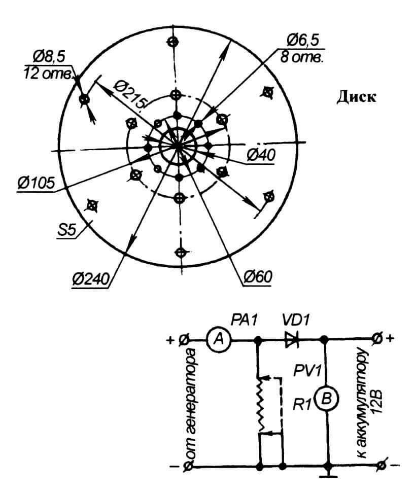 Принципиальная схема пульта контроля зарядки аккумулятора