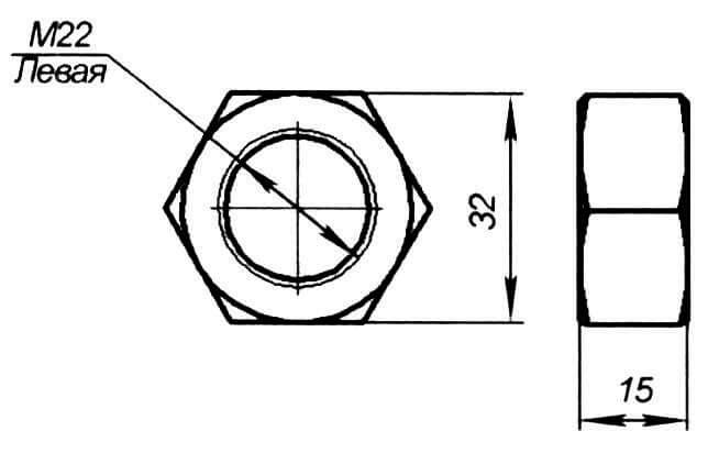Гайка (левая резьба, 1 шт.)