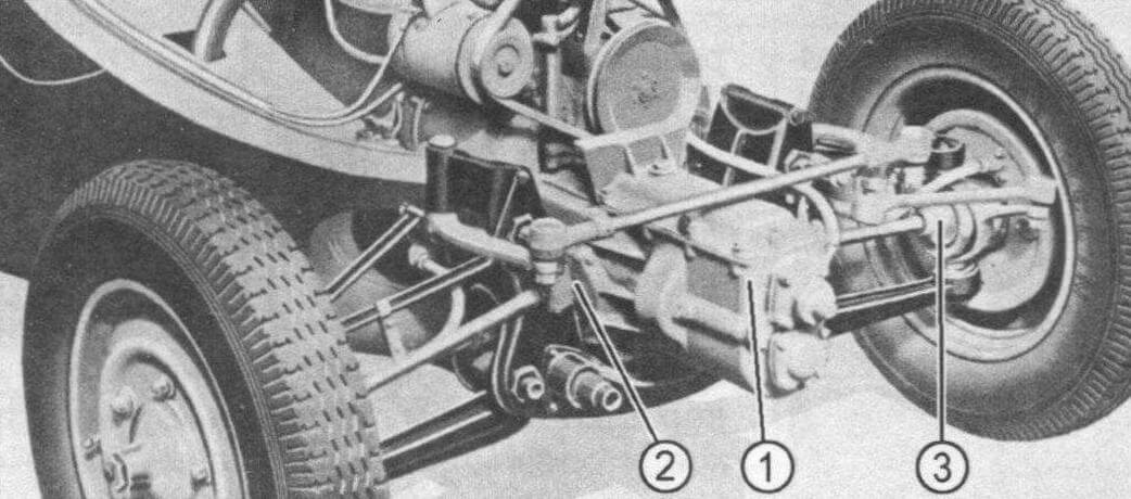 Привод передних колес: в центре (1) видна коробка передач, в точке (2) находится муфта, передающая крутящий момент на ведущие колеса черед шарниры равных угловых скоростей (3)