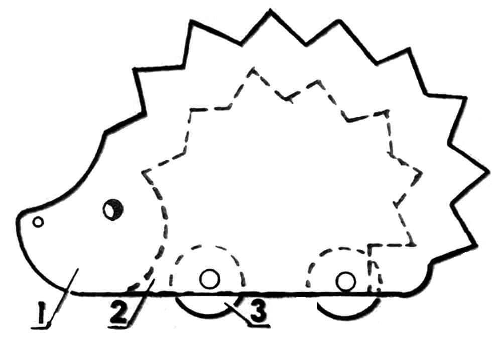 Составляющие фигурки ежика: 1 — середина; 2 — боковина (2 шт.); 3 — колесо (4 шт.).