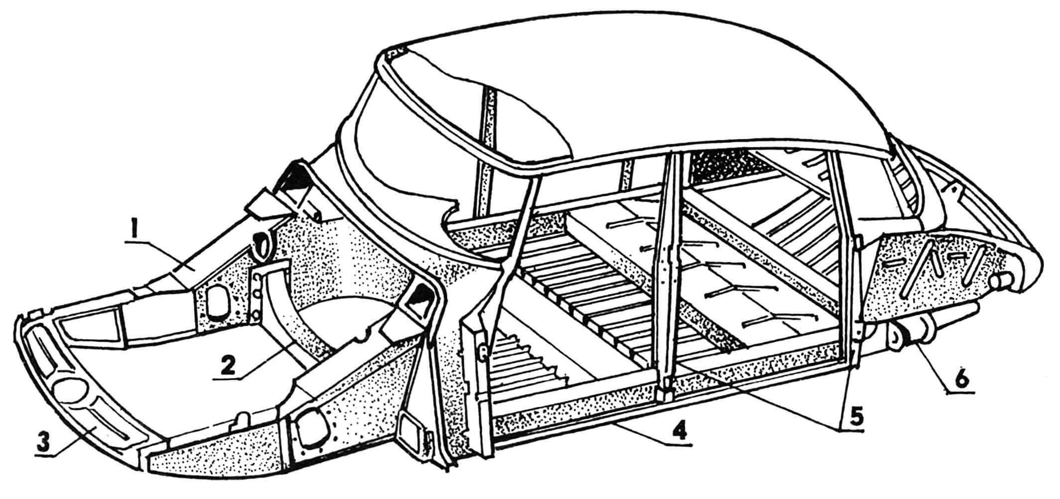 Каркас кузова: 1 — лонжерон; 2 — балка поперечная; 3 — балка передняя; 4 — порог; 5 — стойки дверных проемов; 6 — узел крепления подвески заднего колеса.