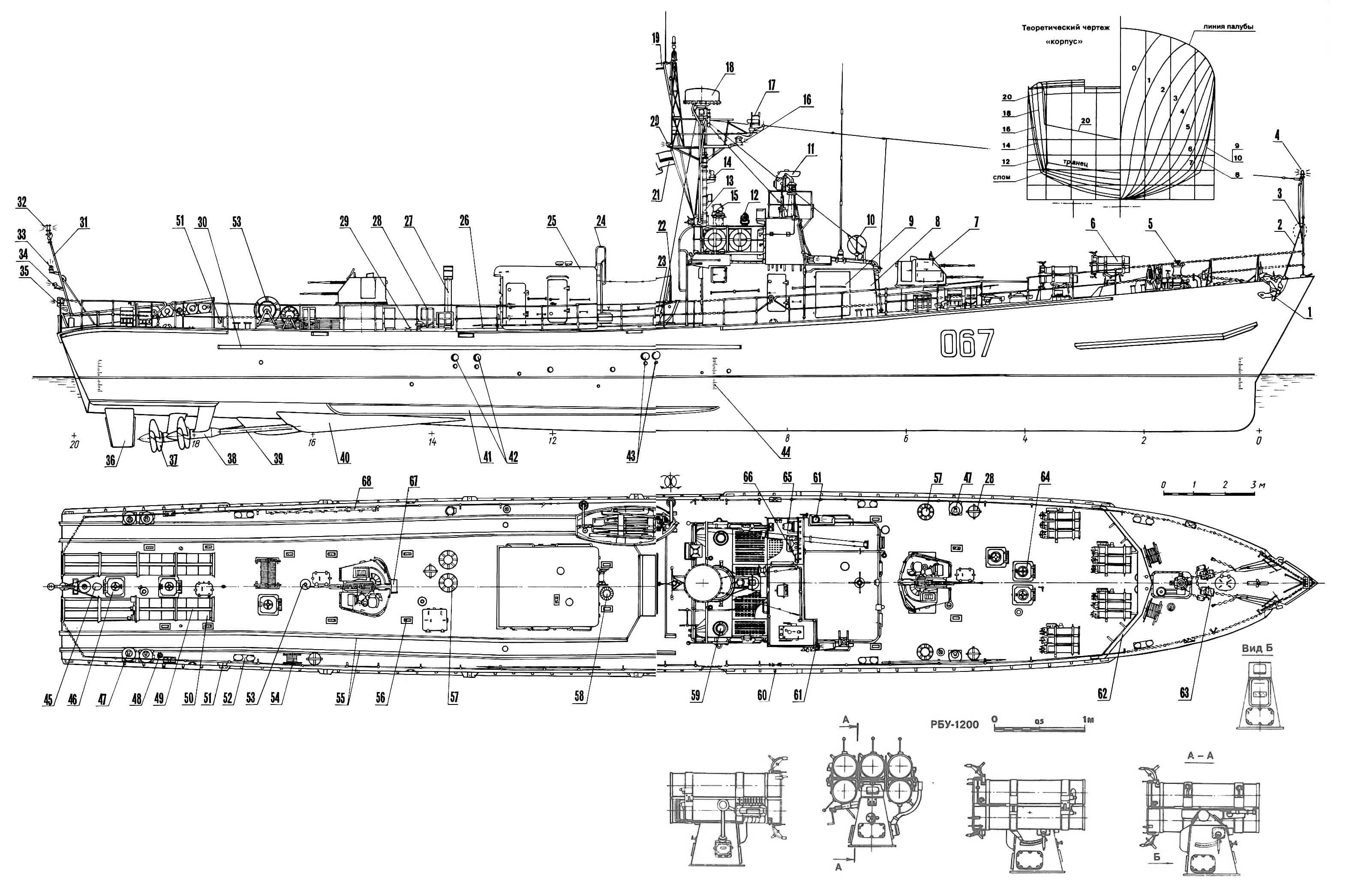 Противолодочный катер проекта 201М в варианте пограничного сторожевого катера: 1 — якорь Холла; 2 — стойка носовая; 3 — знак якорной стоянки; 4 — огонь якорный; 5 — шпиль; 6 — бомбомет РБУ-1200; 7 — 25-мм артустановка 2М-3М; 8 — рубка; 9 — щит волноотбойный; 10 — рамка пеленгатора; 11 — бинокуляр БМТ-110; 12 — прожектор светосигнальный; 13 — мачта; 14 — ревун; 15 — компас магнитный; 16 — огонь топовый; 17 — РЛС опознавания; 18 — РЛС «Рея»; 19 — вымпел пограничных кораблей; 20 — огонь кильватерный, верхний; 21 — флаг морских частей погранвойск (на ходу); 22 — шлюпбалка поворотная; 23 — шлюпка; 24 — трап забортный; 25 — кап машинного отделения; 26 — футшток; 27 — труба камбуза; 28 — корзины для мягкого кранца; 29 — утка; 30 — брус привальный; 31 — флагшток; 32 — огонь кормовой якорный (белый); 33 — огонь кормовой якорный (синий); 34 — огонь кильватерный, нижний; 35 — огонь кормовой; 36—руль; 37 — винт; 38 — кронштейн винта; 39 — вал гребной; 40 — штаны; 41 — киль скуловой; 42 — патрубки дизелей, выхлопные (только с правого борта); 43 — патрубки дизелей, выхлопные (с обоих бортов); 44 — марка углубления; 45 — битенг кормовой; 46 — люк в ахтерпик; 47 — шашки дымовые, малые; 48 — вентиль пожарный; 49 — бомбосбрасыватель; 50 — бомбы глубинные, большие; 51 — клапан воздушный; 52 — кнехты; 53 — грибок вентиляционный; 54 — вьюшка; 55 — рельсы минные; 56 — иллюминатор палубный; 57 — бухты для троса; 58 — оголовок машинного отделения вентиляционный; 59 — репитер гирокомпаса; 60 — планка киповая; 61 — огни бортовые, отличительные; 62 — волноотвод; 63 — стопор цепной кулачковый; 64 — люк в погреб реактивных бомб; 65 — индикатор РЛС; 66 — курсоуказатель; 67 — кранец первых выстрелов; 68 — сходня; 69 — 45-мм артустановка СМ-21-ЗиФ.