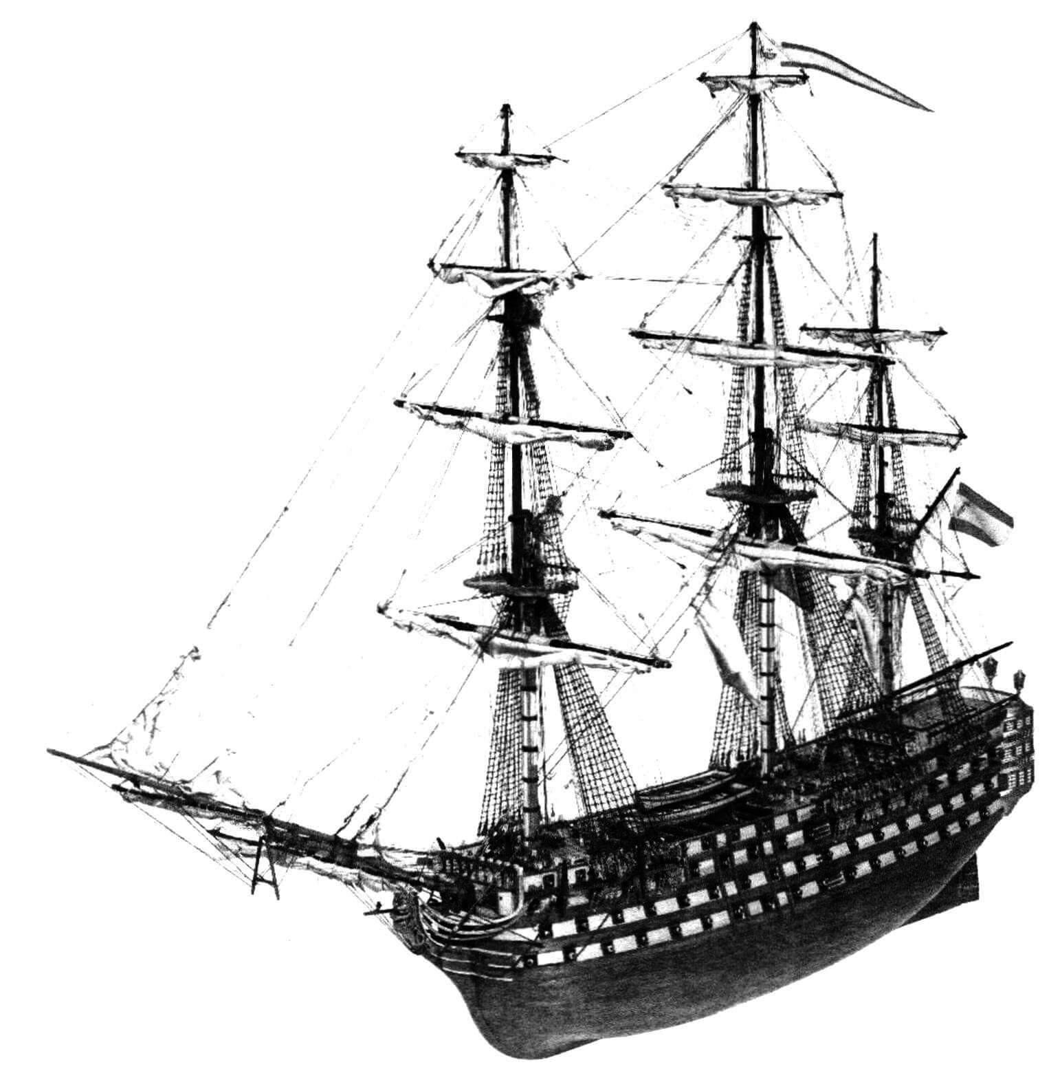 Модель испанского корабля «Сантисима Тринидад» единственного реально построенного четырехдечного линкора
