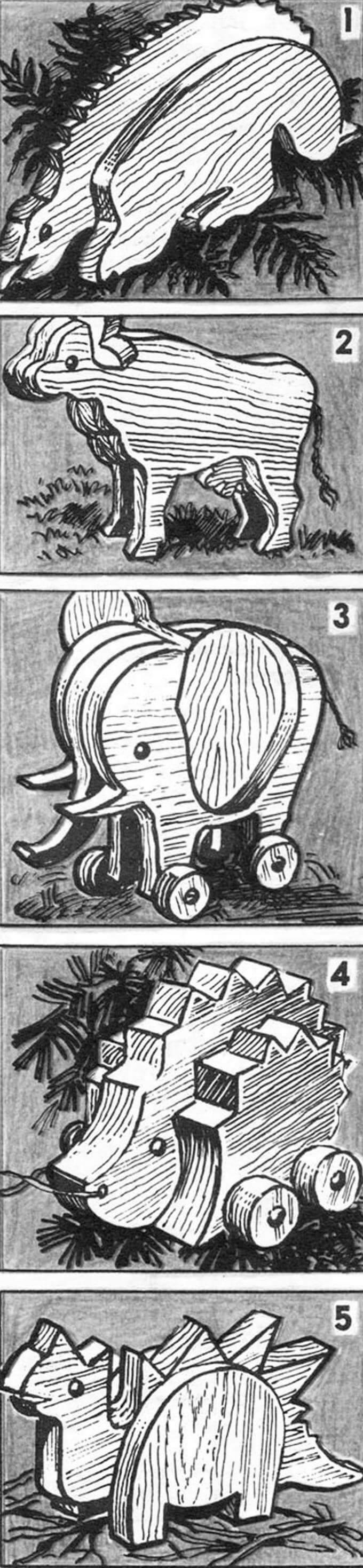 Плоскообъемные фигурки животных: 1 — ящера; 2 — коровы; 3 — слоненка; 4 — ежика; 5 — динозаврика.
