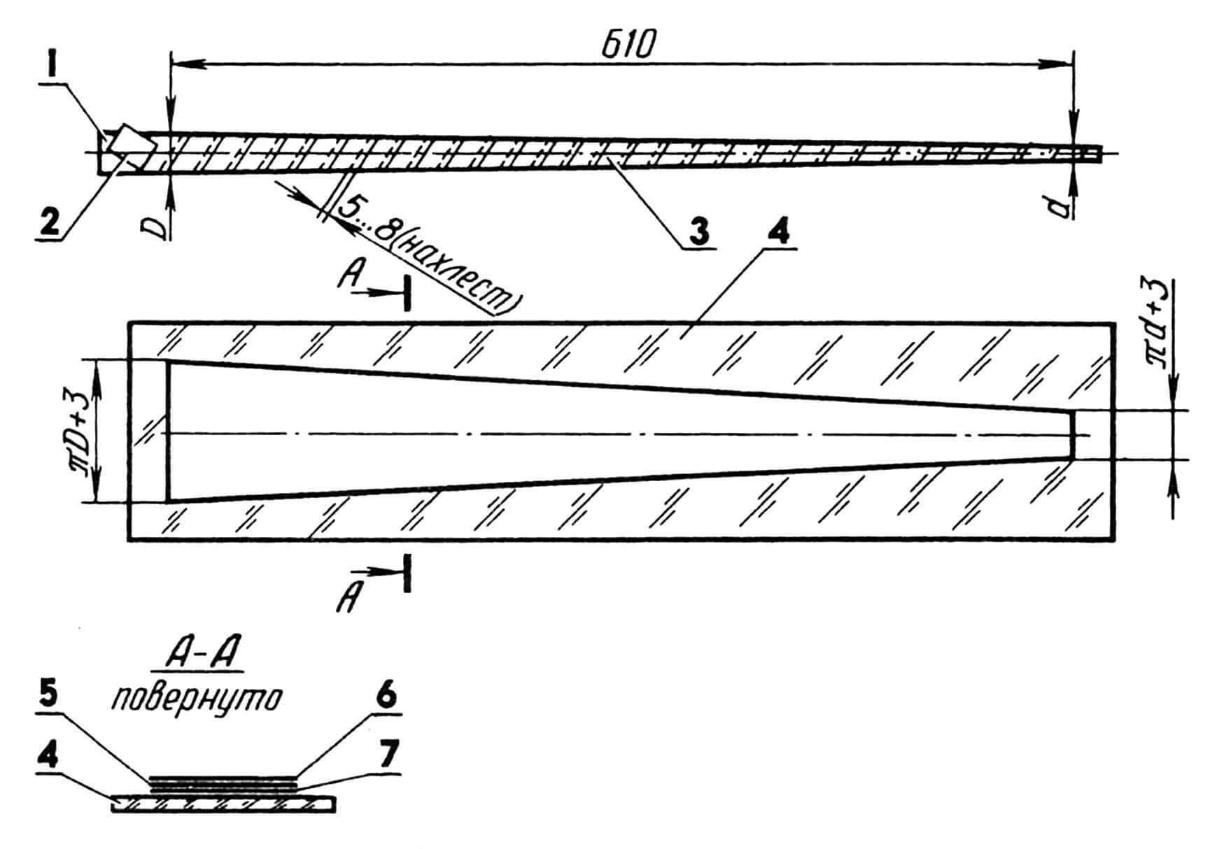 Изготовление хвостовой балки: 1 — оправка коническая (Д16Т); 2 — скотч; 3 — обмотка (лента лавсановая); 4 — подкладка (стекло); 5 — основа (стеклоткань); 6 — наполнитель (углеволокно); 7 — пленка лавсановая.