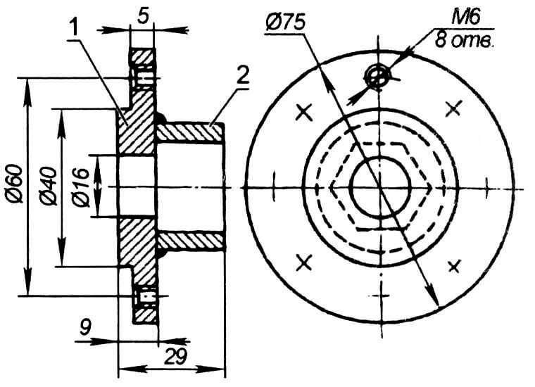 Фланец: 1 - диск; 2 - стакан (головка торцевого ключа «на 24»)