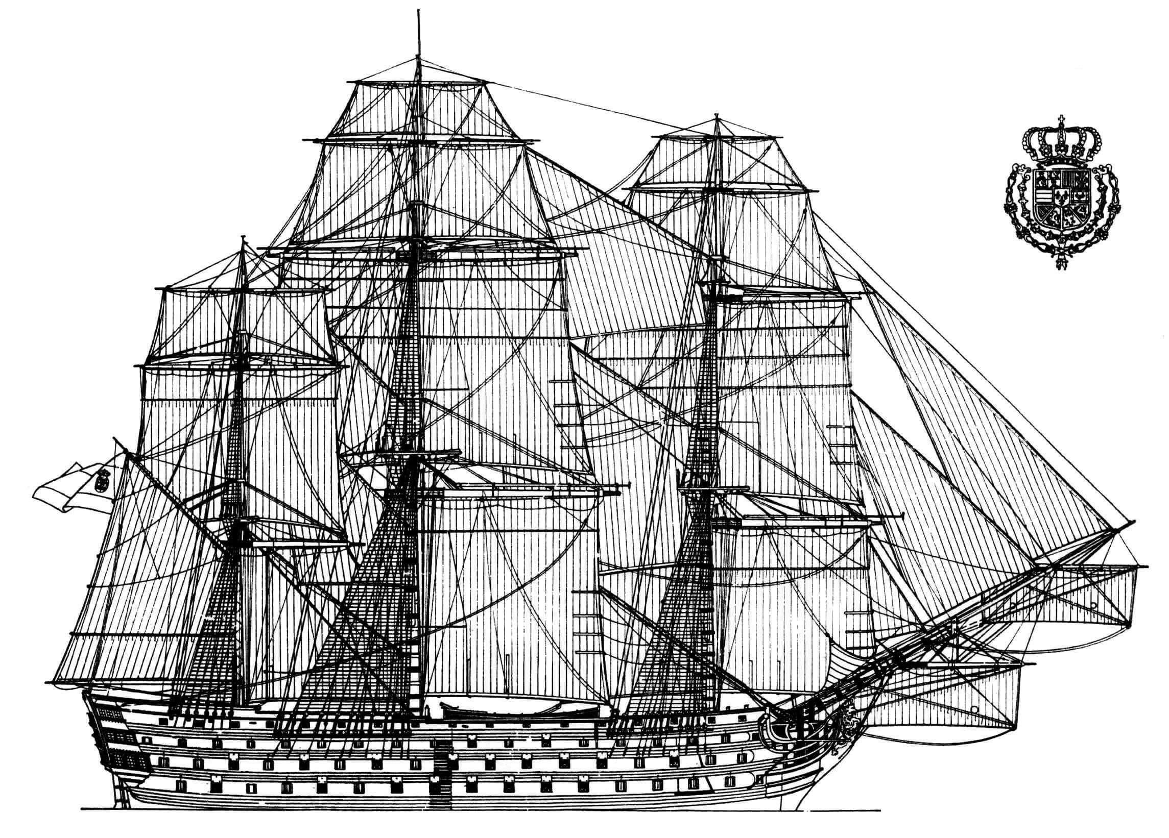 Реконструкция внешнего вида линейного корабля «Сантисима Тринидад»