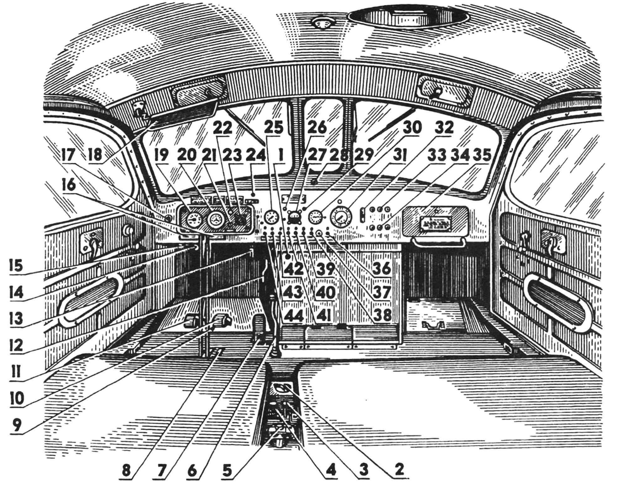 Органы управления и контроля: 1 — кнопка остановки двигателя; 2 — кран топливораспределительный; 3 — рычаг выключения барабана лебедки; 4 — насос топливный, ручной; 5 — выключатель массы; 6 — рычаг переключения передач; 7 — педаль ножного привода топливоподачи; 8 — рычаг управления реверсом лебедки; 9 — фиксатор горного тормоза; 10 — педаль тормоза; 11 — педаль главного фрикциона; 12 — рычаг ручного привода подачи топлива; 13 —рычаг управления жалюзи; 14 — розетка аварийного освещения; 15 — кнопка стартера; 16 — рычаги управления механизмами поворота; 17 — кнопка сигнала; 18 — козырек противосолнечный; 19 — спидометр; 20 — тахометр; 21, 24, 37 — лампы контрольные; 22, 26, 29 — лампы освещения щитка приборов; 23 — термометр; 25 — манометр масляный; 27 — вольтамперметр; 28 — розетка питания прибора ночного видения; 30 — указатель уровня топлива в баках; 31 — манометр воздушный; 32 — переключатель режимов светомаскировки; 33 — фонарь сигнализации; 34 — кнопка сигнализации; 35 — ящик для личного имущества; 36 — выключатель катушки зажигания электрофакельного подогрева; 38 — выключатель свечи накала котла подогревателя; 39 — выключатель плафона кабины; 40 — выключатель ламп освещения щитка приборов; 41 — выключатель фары-искателя; 42 — выключатель задних фонарей; 43 — выключатель фар; 44 — кнопка аварийного останова двигателя.