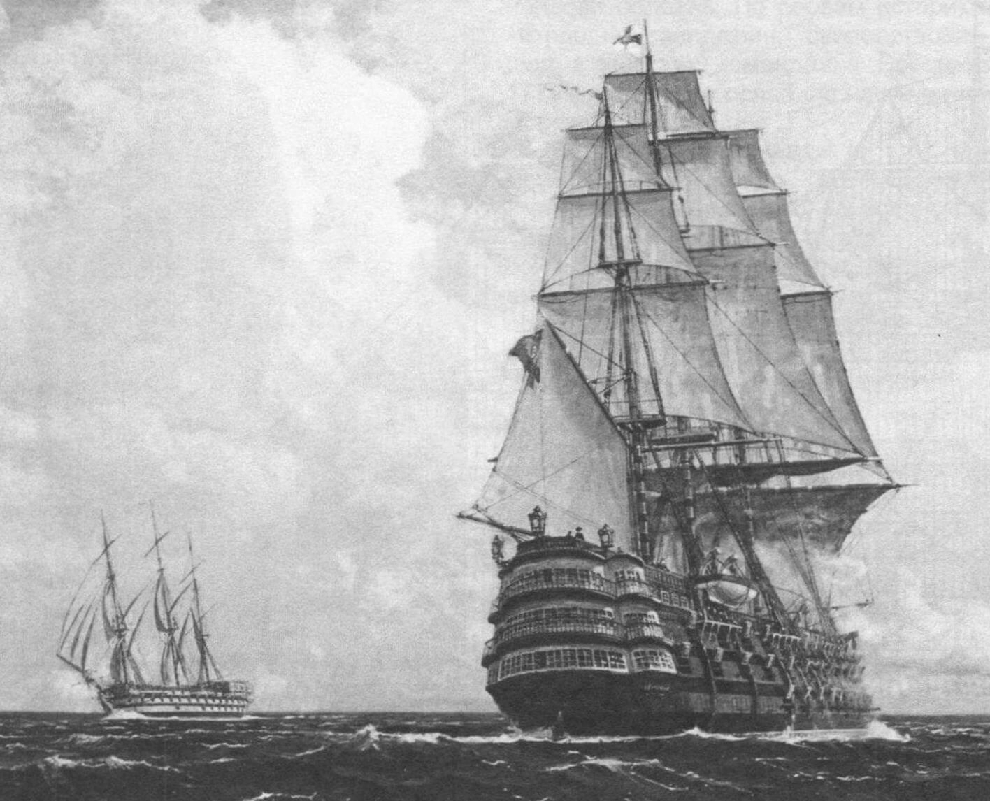 Модернизированный «Сантисима Тринидад» в море. Обратите внимание: на бизань-мачте вместо первоначального латинского паруса (и, соответственно, бизань-рю) появился грот