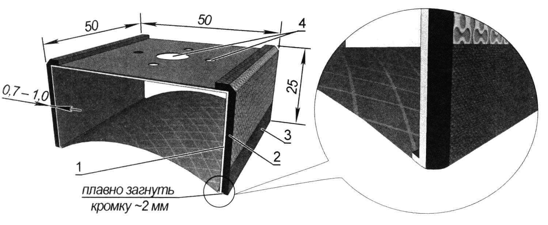 Насадка на многофункциональный инструмент (реноватор) для шлифовки внешних закруглений: 1 - основа из оцинковки; 2 - полоски самоклеющегося материала; 3 - наждачная бумага; 4 - отверстия для крепления насадки на головке инструмента