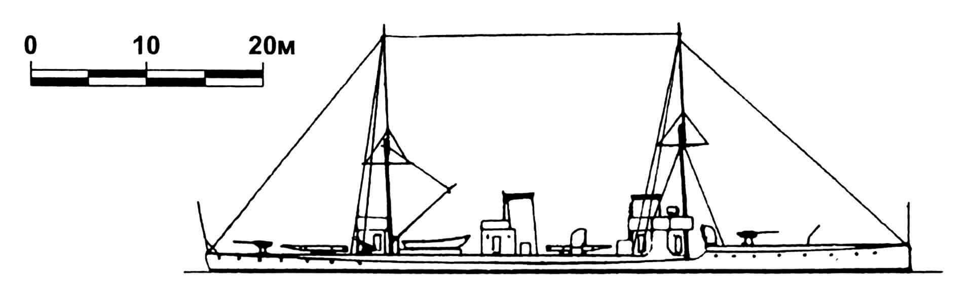158. Эскадренный миноносец «Фу-По», Китай, 1912 г. Строился в Германии фирмой «Шихау». Водоизмещение полное 390 т. Длина наибольшая 60,4 м, ширина 6,5 м, осадка 1,8 м. Мощность двухвальной паросиловой установки 6500 л.с., скорость 32 узла. Вооружение: два 76-мм и четыре 47-мм орудия, два торпедных аппарата. Всего в 1911—1912 годах построено три единицы: «Фу-По», «Цзян-Фэн» и «Фэй-Хун». «Цзян-Фэн» погиб в результате крушения в 1932 г., «Фэй-Хун» затоплен в 1937 г. «Фу-По» в 1937 г. потоплен японской авиацией, затем поднят японцами и введен в состав их флота под названием «Ямасеми».