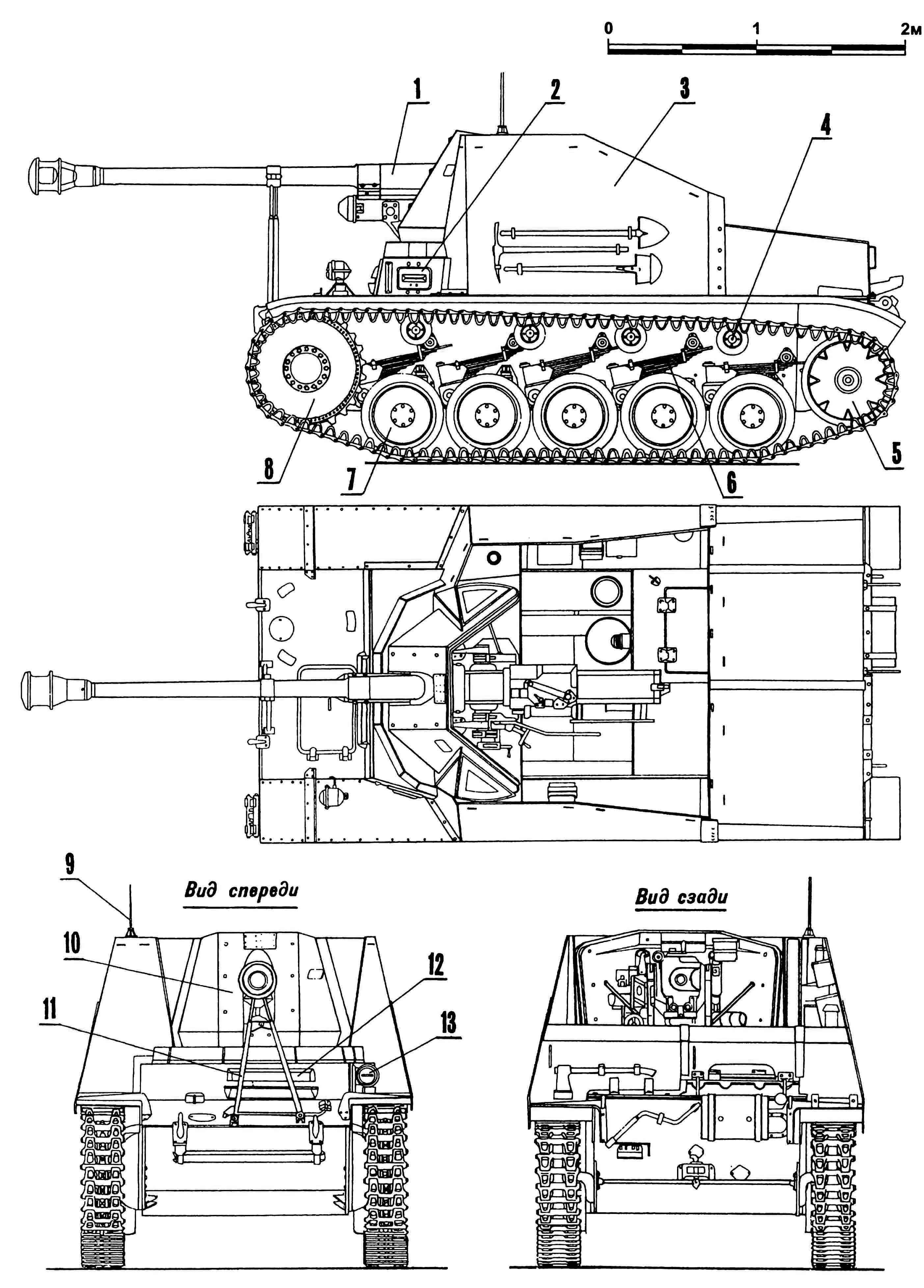 Самоходная установка Marder II (Sd.Kfz.131): 1 — пушка Раk 40/2 75-мм; 2 — прибор наблюдения механика-водителя, бортовой; 3 — рубка; 4— каток поддерживающий; 5 — колесо направляющее; 6 — рессора подвески; 7 — каток опорный; 8 — колесо ведущее; 9 — антенна; 10 — бронировка подвижная; 11 — кронштейн крепления пушки по-походному; 12 — прибор наблюдения механика-водителя; 13 — фара со светомаскировочной насадкой.